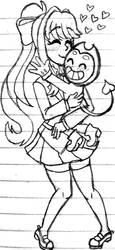 ::(Crackship) Bendy x Monika:: by TinyToxicWaste101