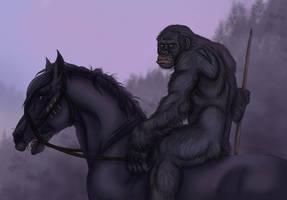 Koba on horseback. by pookyhorse