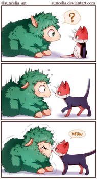 BNHA Deku sheep meets Todorocat by Suncelia
