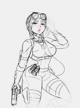 cassie cage sketch by a-planning-duo