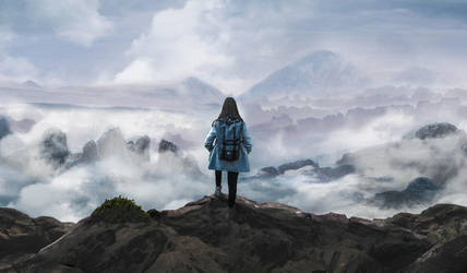 Wanderer above a sea of fog by iwooshyou