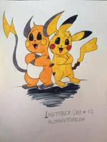 Inktober Day #17: Pikachu and Raichu by AllyPhantomRush