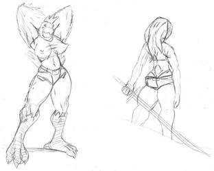 Female doodles by Giganaut