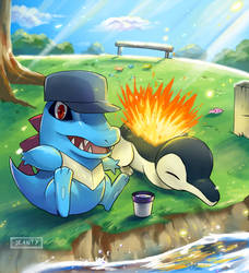 Totodile and Cyndaquil by Wallach1