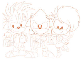 collab Sonic Undeground the artist hedgehogs by Domestic-hedgehog