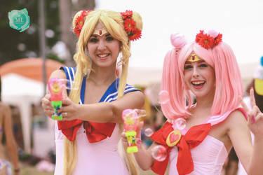 Chibi Moon and Usagi cosplay sailor moon Bikini by MissWeirdCat