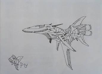 Random Sci-fi Spaceship and Chibi Dragon by Simbaboy8
