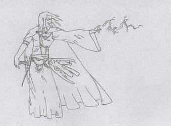 Wizard launching thunder by MagoRojo