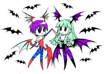 Morrigan and Lilith - Cute Team Up by SketchMeNot-Art