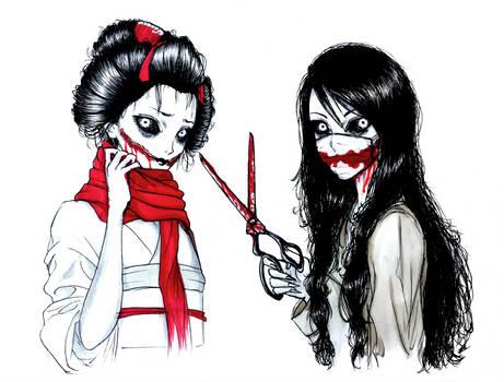 Kuchisake Ladies by SketchMeNot-Art