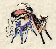 fox and cat spirit by Wolfsjal