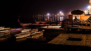 Varanashi Ghat at night by DebasishPhotos