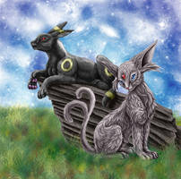 Umbreon and Espeon by Toyger