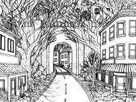 Mountain Street Sketch by Benjamin-the-Fox