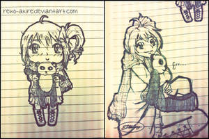 Girl with Panda - Chibi vs. Normal by reiko-akire