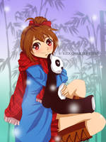 Girl with Panda - Digital Mouse drawn by reiko-akire