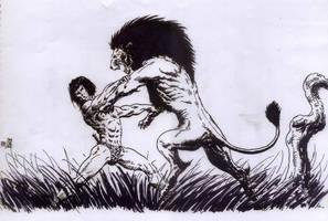 Tarzan vs. Lion by avix