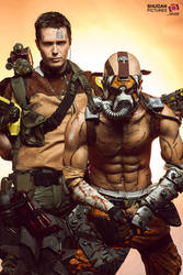 Vault Hunters - Psycho Krieg and Axton Cosplay by LeonChiroCosplayArt