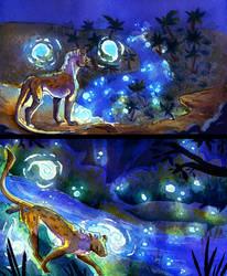 Walking between blue lights by kattam12