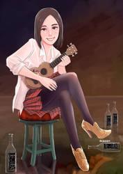 A girl who plays ukulele by lazyseal8