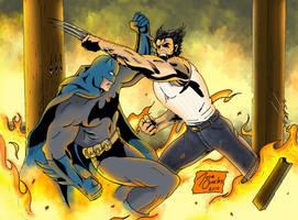 Wolverine Vs Batman colors by BIG-D-ARTiZ