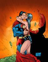 Superman Wonder woman - Kiss by BIG-D-ARTiZ