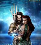 Amber Heard Mera and Jason Momoa Aquaman fan art by iamuday