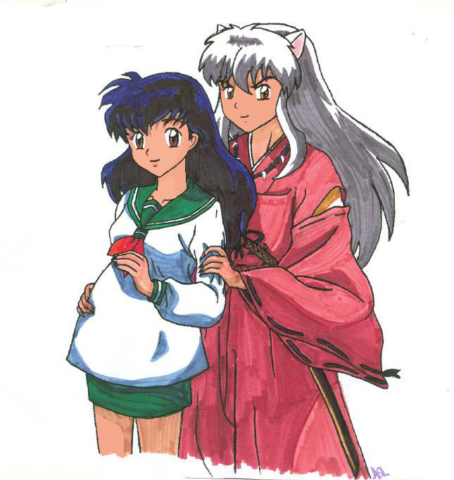 Kagome Sitting By Devicemodder On Deviantart: Inuyasha And Kagome- Expecting By Theamberdragonfly On