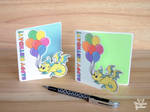 Dragon with baloons - Birthday Card by Dragons-Garden