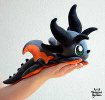 Black and Orange Beanie Dragon Plushie by Dragons-Garden