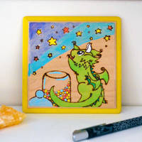 Starpicking Dragon - Painting/Pyrography on wood by Dragons-Garden
