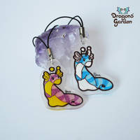 Pink and Blue creatures - Keychain Charm by Dragons-Garden