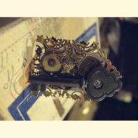 Skeleton Key Steampunk Ring by asunder