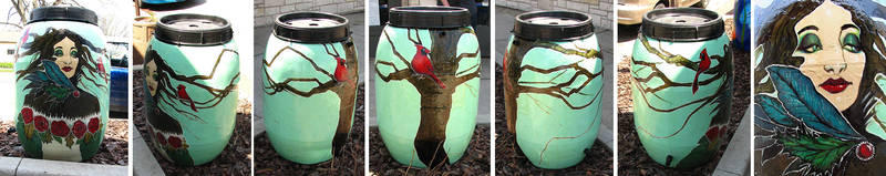 Rain Barrel Painting by asunder
