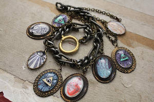 Religious, Mystical, Occult Themed Charm Bracelet by asunder