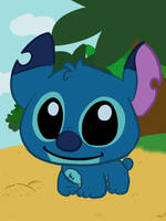 Chibi Stitch on the beach by LeniProduction