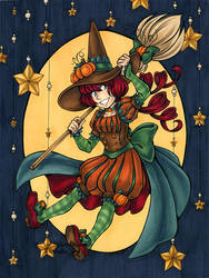 Happy Halloween 2016 - Pumpkin Witch by Karmada