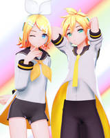 [DL] YYB Styled Edit Reverse Rainbow Len and Rin by maydayfireball