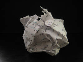 Crumpled Paper Ball Writing by simfonic