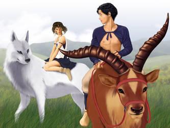 Ashitaka, San, Moro and Yakul by iizzard