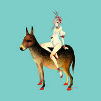 girl sitting on donkey by somefield