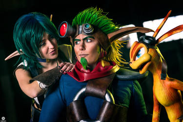Jak and Daxter with Keira by CynShenzi
