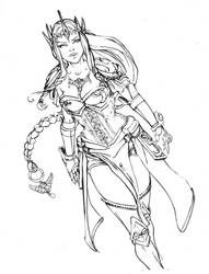 Princess Zelda Commission inked by Danielleister