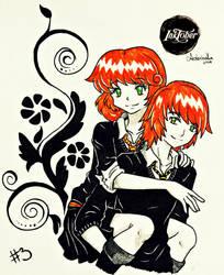 Inktober 3 - Redheads Twins by AderiAsha