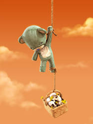 Bear hanging with rope by mox3d