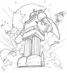 Firefox Robot Sketch by mox3d