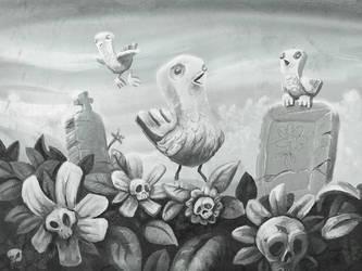 Birds in Graveyard by mox3d