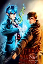 Ao no Exorcist - Okumura Rin and Yukio by theresamelo