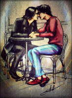 Snarry in cafe by DeolaS