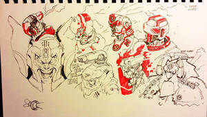 Black n Red Sketches by justinwongart
